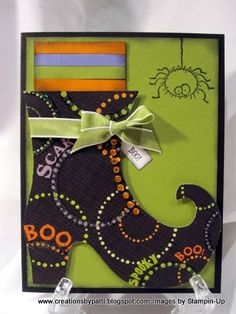 Creations by Patti: Witch Shoe - Basteln - halloween cards Fall Paper Crafts, Halloween Paper Crafts, Cricut Halloween Cards, Halloween Invitations, Halloween Decorations, Fall Cards, Holiday Cards, Christmas Cards, Holidays Halloween
