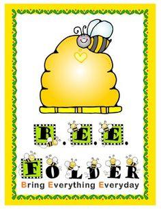 Bee Folder Cover Garden Theme Classroom, New Classroom, Classroom Setup, Preschool Classroom, Classroom Organization, Homework Folders, Classroom Arrangement, Bee Theme, School Readiness