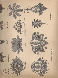 chart to several of old flower pattern used in old swedish embroidery Heklowana zapaska: