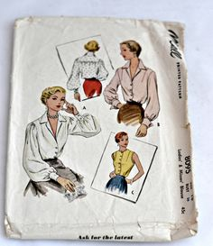 Mcall's Pattern 8095  1950 Women's Blouses by YeOldVintagePatterns