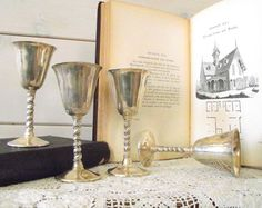 Vintage Birks Silver Plate Cordial Goblets Primrose Plate by gazaboo