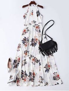 $34.09 Boho Floral Open Back Maxi Dress - WHITE S