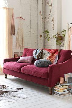 Ruby-red velvet (linen velvet) sofa