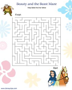 Ideas of Beauty And The Beast Worksheets Free For Resume Adhd Activities, Disney Activities, Disney Games, Disney Fun, Maze Worksheet, Fun Worksheets, Barbie Coloring Pages, Disney Coloring Pages, Maze Games For Kids