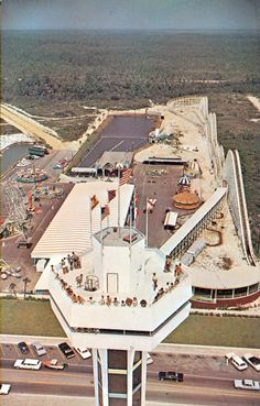 Aerial view of the tower, with the amusement park in the background - Panama City Beach, FL.
