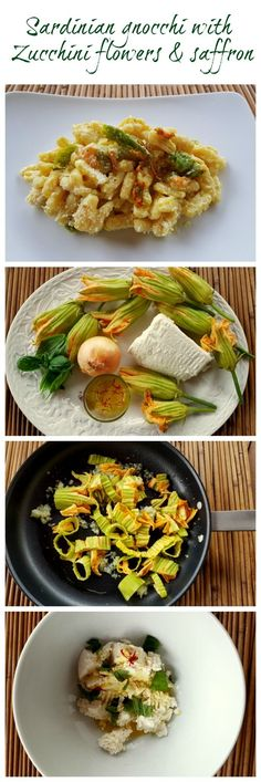 Malloreddus (Sardinian gnocchi) with fresh ricotta, zucchini flowers & saffron! A delicately delicious and creamy vegetarian pasta dish that's very quick and easy to make. See the recipe on the blog!
