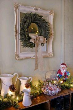love the frame/wreath/burlap bow