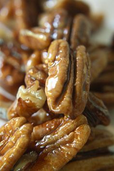 """Candied pecans. If you make these to just """"have on hand"""", you will soon become famous with your friends!"""