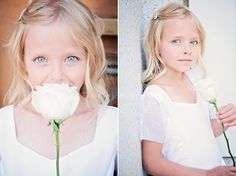 Baptism photo with flower, could be colored to make blue eyes pop! Elle J Photography