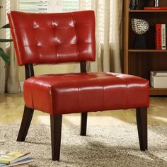 Homelegance Warner Accent Chair - Lava Red Combining wood and Bi-cast vinyl, the Warner Chair Collection by Homelegance is offered in Sky Blu, Dark Brown, Lava Red, and White color. Specification This item includes: Warner Accent Chair - Lava Red 27 x x Home Design, Interior Design Trends, Küchen Design, Design Ideas, Design Inspiration, Red Accent Chair, Armless Accent Chair, Accent Chairs, Tufted Chair