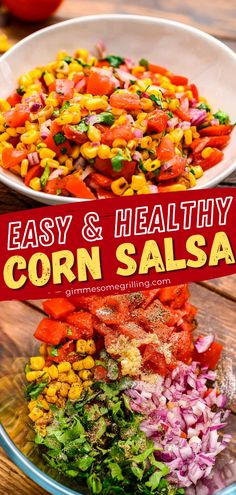 Get your chips ready for this healthy recipe! Packed with flavor from loads of grilled corn, juicy tomatoes, and onions that are all tossed with a cilantro lime dressing, you will find yourself inhaling this salsa. Serve it as a simple appetizer or snack! Save this pin!