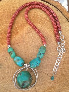 Turquoise Coral Sterling Silver Necklace by BurchtreeDesigns, $52.00