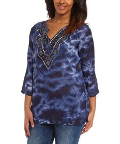 Look what I found on #zulily! Blue Tie-Dye Embellished Three-Quarter Sleeve Top by Overdrive #zulilyfinds
