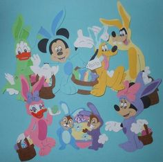 Disney Easter Mickey Mouse Paper Piece Set 4 Scrapbook Pages, Vacation
