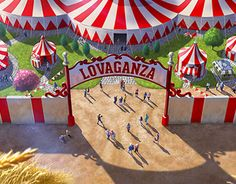 Panoramic view/map of the Lovaganza 2020 Park. This is a visualization of how it would look when it´s built in Santa Clarita, California, USA. Working On Myself, Tree Skirts, New Work, Artworks, Behance, Christmas Tree, Holiday Decor, Check, Home Decor