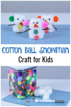 Looking for fun and easy winter crafts for kids? This easy Cotton Ball Snowman craft activity for kids is perfect for an afternoon indoors. This would also make a wonderful project for a classroom art center (at school or for homeschool). Diy Gifts For Kids, Crafts For Kids To Make, Craft Activities For Kids, Projects For Kids, Kids Crafts, Craft Ideas, Winter Activities, Art Projects, Thanksgiving Crafts For Kids