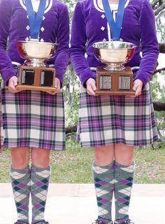 Kilts with purple jackets #Strathyre #Purple #Tartan