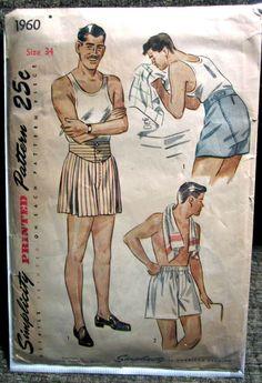 "Vintage 1945 Simplicity Men's Boxer Shorts Pattern 2 Styles Size Waist 34"""