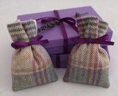 Lavender Bags Purple Blue or Pink Tweed 2 Gift by DaisyBelleShop ♡
