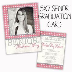 PSD senior graduation invitation card photoshop template for professional photographers - Y203