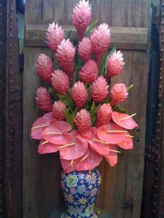 pink torch ginger and heart shaped pink anthuriums