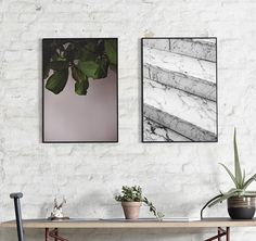 GREEN LEAVES & MARBLE STEPS BY NORM ARCHITECTS. Buy prints at https://paper-collective.com/product/green-leaves/ https://paper-collective.com/product/marble-steps/ #papercollective #normarchitects #art #illustration #aesthetic #monochrome #minimalistic #print #poster #posterdesign #design #interior #home #decor #homedecor