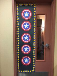 Busy Miss B. Superhero Classroom Door, Superhero School Theme, Disney Classroom, Classroom Decor Themes, Classroom Walls, Classroom Design, Classroom Organization, Classroom Ideas, Summer Preschool Themes
