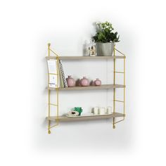 Raft- Neelix Triple (Stejar-Galben) Oliver Wood, Wood Brackets, Aesthetic Colors, Fashion Room, Yellow And Brown, Wood Shelves, Wood Construction, Adjustable Shelving, Wood And Metal