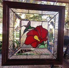 STAINED GLASS WINDOW ART PANEL HUMMINGBIRD & FLOWER TIFFANY STYLE WOOD FRAME