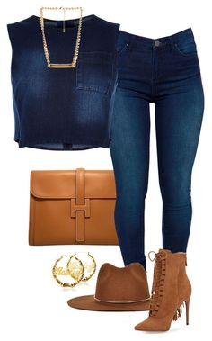 Dark denim and Carmel accessories
