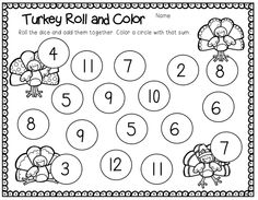 first grade thanksgiving math station.....laminate so they can play again