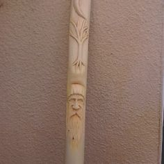 "Common woodcarving on hiking stick often begin with the face of a wise old man or a ""wood spirit."""