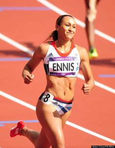 Jessica Ennis after winning heat 5 of the Women's Heptathlon 100m Hurdles at the Olympic Stadium, London.