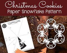 Christmas Cookies Paper Snowflake Pattern (PDF Digital Download) - Paper Snowflake Printable Template - Christmas Cookies Pattern