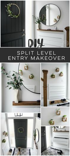 DIY Split Level Entry Makeover- I LOVE this entry. The oversize door, scandi influence and that shoe storage! The Best of home decor ideas in 2017.