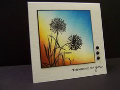By hobbydujour at Splitcoaststampers. Background brayered (but could be sponged). Flowers stamped in black and heat embossed with clear powder.