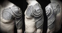 Shoulder Spiral Dotwork Tattoo by Ivan Hack