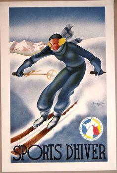 G. Arou, affiche, Ski, Sports d'hiver, Chemin de fer, Paris, Lyon, Méditerranée,
