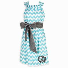 Ladies Aqua Chevron Gray Dot Sash Ruffle Neck Dress – Lolly Wolly Doodle