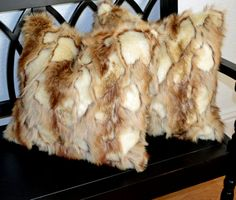Faux Fur Pillows Ivory to Brown Fur Pillow by CindyHeitkampDesigns