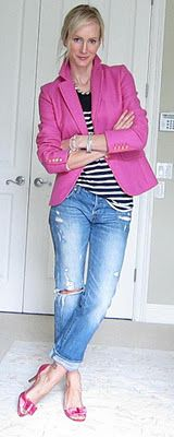 cute outfit. love the fun pink blazer with stripes and light denim.