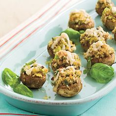 Stuffed Mushrooms with Pecans | Guests will be amazed at the better-than-the-restaurant-version taste of Stuffed Mushrooms with Pecans. | Appetizer #Recipes | SouthernLiving.com