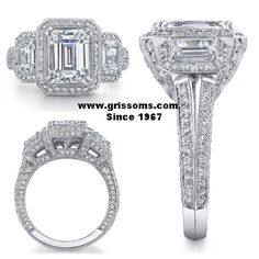 Incredible Platinum three stone halo ring