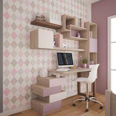 Study Table Designs, Study Room Design, Study Room Decor, Cute Room Decor, Home Room Design, Bedroom Bed Design, Room Ideas Bedroom, Small Room Bedroom, Living Room Partition Design