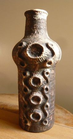 Fabulous Carstens 'Moon Crater' Vase- Vintage West German Fat Lava