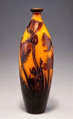 le verre francais | ... André DELATTE (1887-1953) décor chutes de fleurs stylisées (France