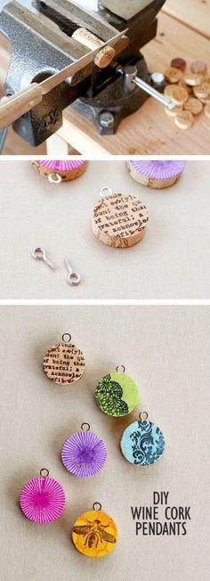 DIY cork screw pendannts