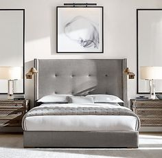 Tompkins Shelter Box-Tufted Fabric Bed With Nailheads - Tompkins Shelter Box-tufted Fabric Platform Bed With Nailheads - Modern Bedroom Design, Interior Modern, Contemporary Bedroom, Home Interior, Bedroom Designs, Modern Contemporary, Contemporary Kitchens, Modern Exterior, Hotel Bedroom Design