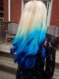 My blonde and blue ombre hair!