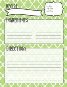 Recipe Binder Printables